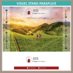 Création visuel Stand parapluie et container pour Asie Online Janvier 2020 à l'occasion du Salon International du Tourisme et des Loisirs de Nantes