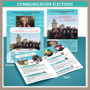 Communication visuelle pour les élections municipales 2020 d'Apremont (liste sans étiquette) : flyer, tract, affiche, profession de foi